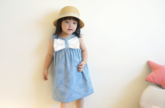 PUREST baby collection Big Bow Jeans Tann Print Baby Girl Vest Dress