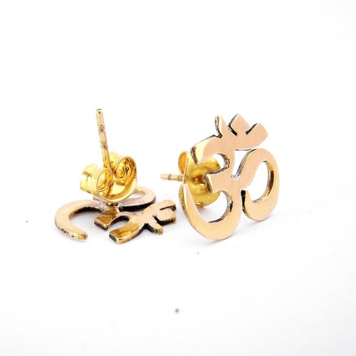 OM studs earrings in brass handmade by hand sawing