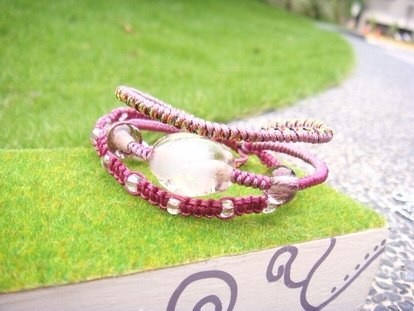 Grapefruit Forest Handmade Glass - Three Rings Luminous Glass Bracelet - Design Style - (Pink Violet)