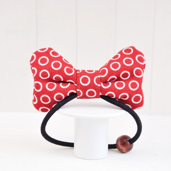 Cute Minnie Series - Classic Red Loop Soft Q Cloth Butterfly Hair Ties