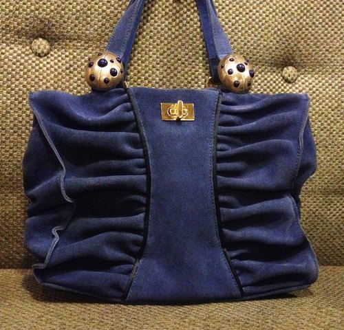 When vintage [ladybug antique blue suede bag] abroad back vintage bag VINTAGE