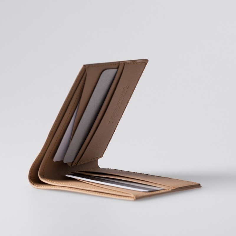 minimalist super thin washable paper bi fold wallet in sahara camel