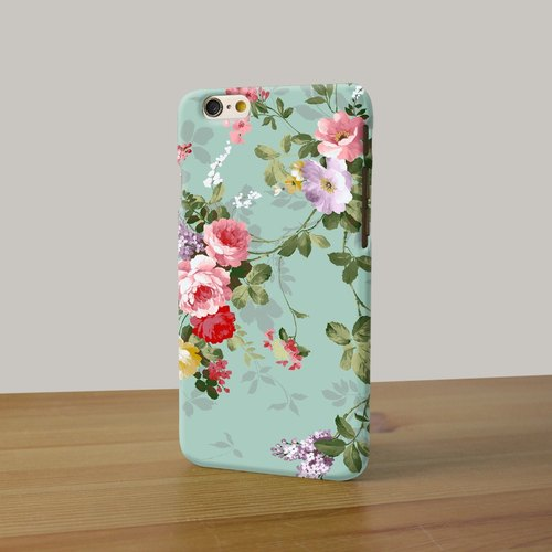 mint rose pattern 08 3D Full Wrap Phone Case, available for  iPhone 7, iPhone 7 Plus, iPhone 6s, iPhone 6s Plus, iPhone 5/5s, iPhone 5c, iPhone 4/4s, Samsung Galaxy S7, S7 Edge, S6 Edge Plus, S6, S6 Edge, S5 S4 S3  Samsung Galaxy Note 5, Note 4, Note 3,  N