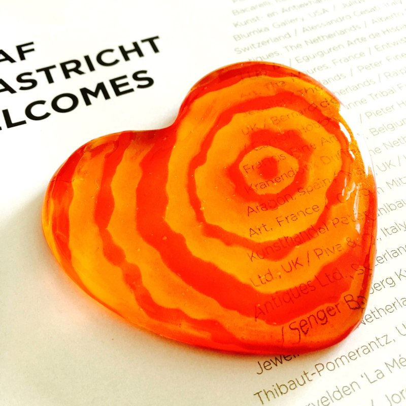 Orange Red Ripples Art Glass Desk Decoration・Heart Shape Paper Weight