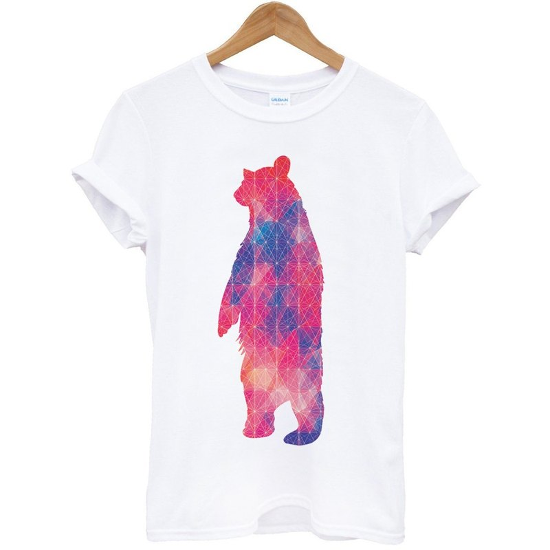 Geometric Bear # 2 short-sleeved T-shirt - white geometric abstract art design illustration Bear