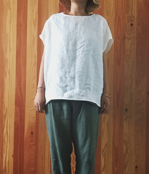 A natural hand-made clothes made of pure linen multi-color natural material wide-format blouse 蝉