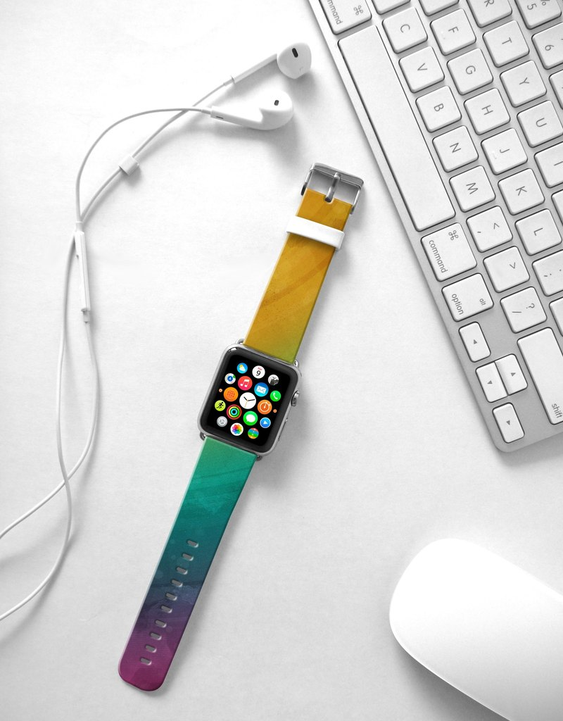 Apple Watch Series 1 , Series 2, Series 3 - Abstract Rainbow Water Painting Watch Strap Band for Apple Watch / Apple Watch Sport - 38 mm / 42 mm avilable