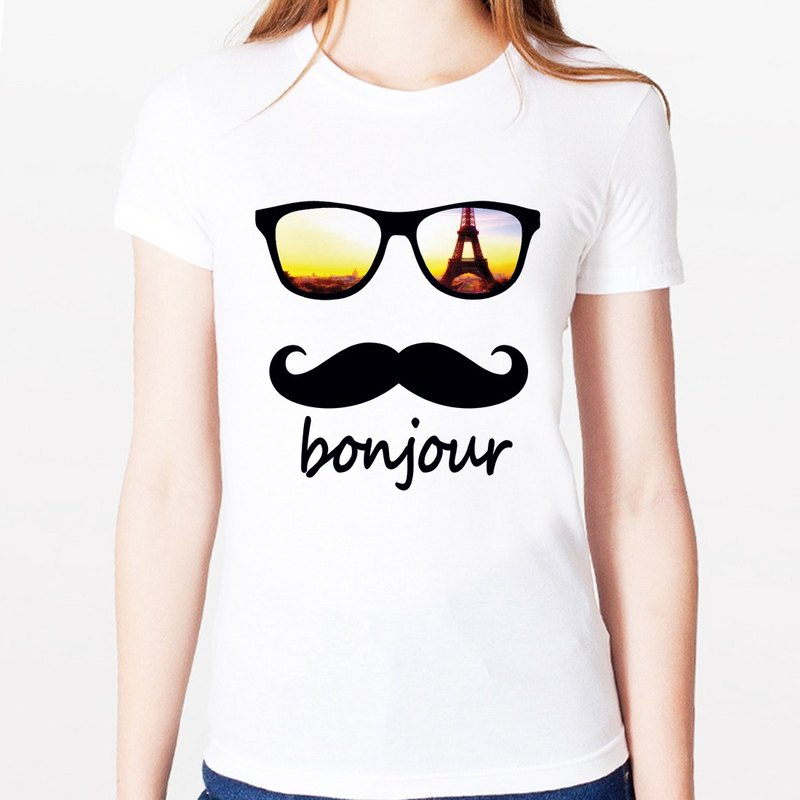 bonjour-Paris girls short-sleeved T-shirt - white Paris Wen Qing cultural and creative design affordable fashion fashionable homemade round triangle