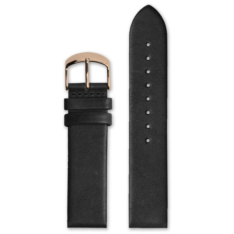 HYPERGRAND Leather Strap - 20mm - Black Calfskin (Rose Gold Buckle)