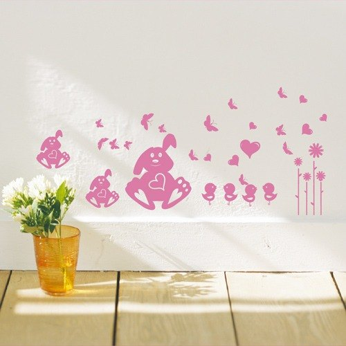 Smart Design Seamless wall stickers creative love rabbit ◆ 8 color options