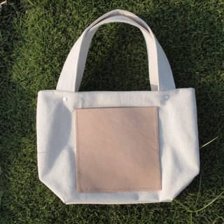 Handmade Canvas Bag Square Style Handbag Tote Bag Genuine Leather