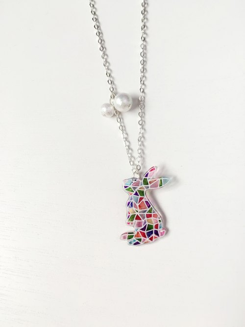 Hand-painted mosaic standing Bunnies Cotton Bead Necklace