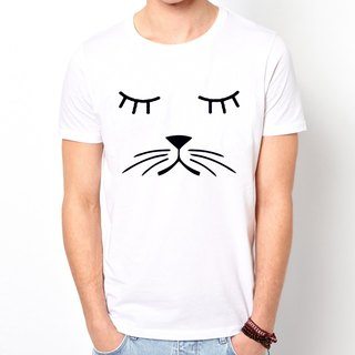 Whiskers Cat T-shirt -2 color green paper beard cats dogs animal art design fashion fashionable word