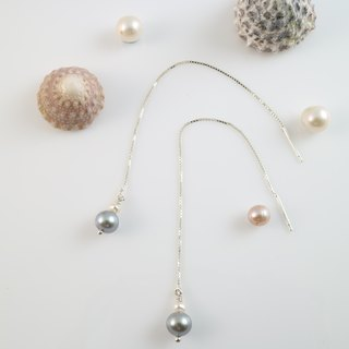 [Classic] ColorDay natural gray pearl sterling silver earrings ear chain <Natural Pearl Silver Earring>