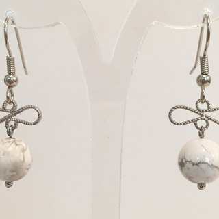 E0320 - own design and manufacture - fashion generous gift of choice - natural stones - white turquoise earrings