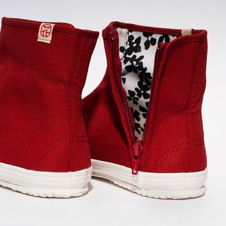hanamikoji shoes   Japan Tabi Shoes knee High Boots Big Red Canvas Shoes Zipper