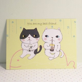 Postcard - friendship card / meow meow friends