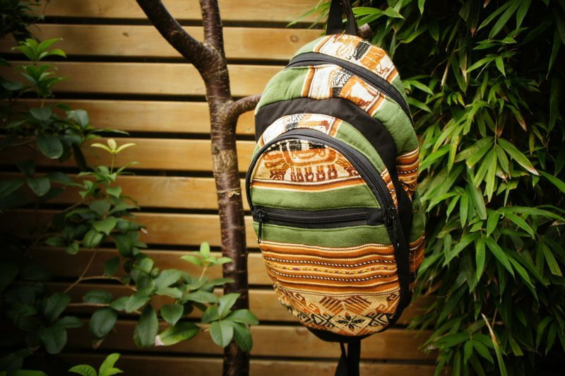 Vista [knowledge], Alfonzo stamp series - after hand-woven Backpack - Green