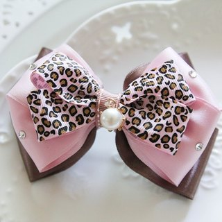 Pink Leopard Bow France clip