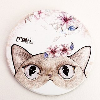 Good hand-painted ceramic absorbent coaster ~ flower cat
