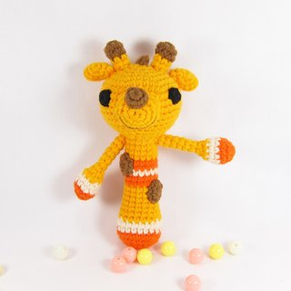 Giraffe - baby rattle - Hand births ceremony (bright orange)