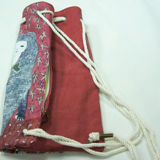 After starlet beam port backpack / thick canvas washed red / can hand dorsal / Limited 20 Sold illustrator: Sera Lee