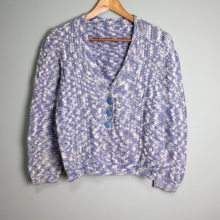 FOAK Vintage Blue Sky V-Neck Knit Sweater