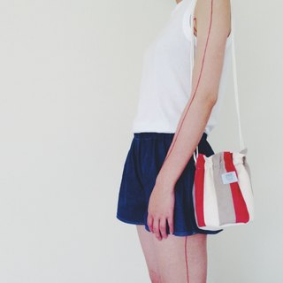::Bangstree:: Shoulder Bucket Bag -PeachRed+White+LightGray