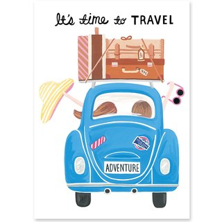 Traveling together illustration postcard / card
