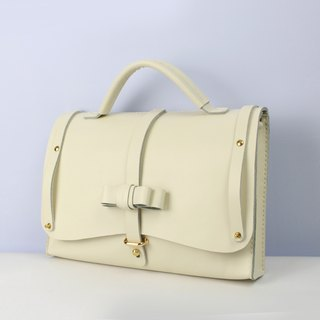 Zemoneni Leather Hand bag and shoulder bag Working bag in White color