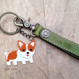 OH! Keyring in leather add metalwork strap - custom made