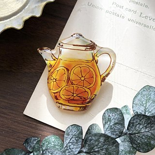 02 GRAPEFRUIT TEA POT BROOCH