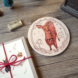 Small animal chubby ceramic coaster / Wen Qing deer /