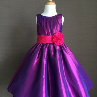 Magenta Taffeta Pleated Dress