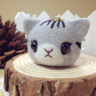 [Hairy] cream wool felt pretty dreamy gray American Shorthair kitty cat Moe headphone plug dust plug mobile phone strap keychain birthday gift