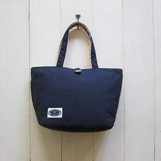 Dachshund dog wooden buckle open canvas tote bag - large (navy blue + white light powder little bit) + double color handle + outside the back pocket + outside zipper bag + kettle bag
