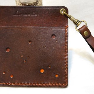 Multifunction starry leather card holder
