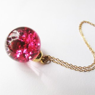 *Rosy Garden* Dark pink glitter with water inisde glass ball necklace