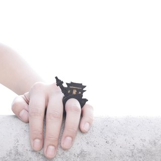 SUE BI DO WA - handmade leather and close the hand-woven ring -SEOUL 100% handmade leather mix with yarn Ring (Seoul)