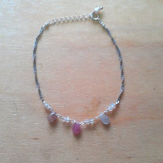 Tong Ling set record 925 sterling silver ornaments ~} {pure natural pink sapphire water droplets natural Moonstone bracelet hand-made wave