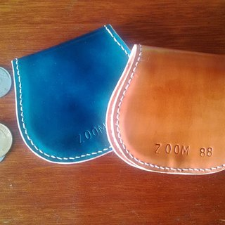 Hand-stitched leather / Horseshoe purse / spot light a tea / can be customized. Staining / Ship Free Shipping