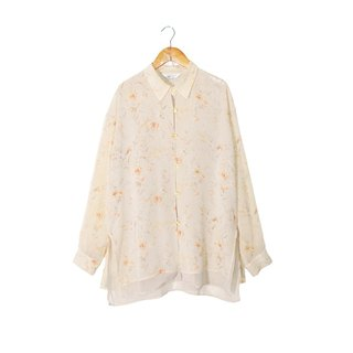 {::: Giraffe giraffe who :::} _ vintage crystal buckle long-sleeved blouse oversize double