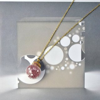 AMATO necklace - Valentines Edition - matallic dark pink polka dots glass bubble necklace