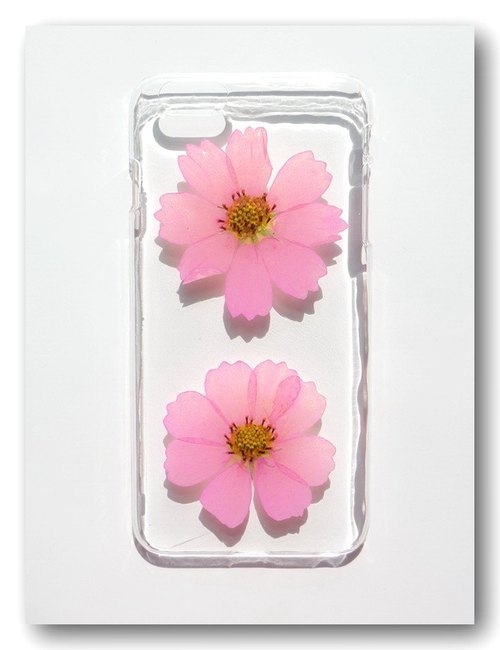 Pressed flowers phone case, Handmade with real flower, Blooming cosmos, Part 3