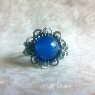Ancient silver retro flower beauty seat ring - blue agate