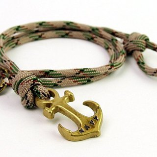 [METALIZE]Anchor with rope bracel Three-circle umbrella rope bracelet - Sea anchor section - Green camouflage (Bronze)