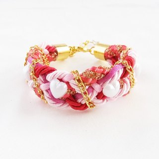 Pink and red braided handmade bracelet