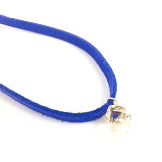 AB clear crystal color small gift - sapphire blue suede necklace