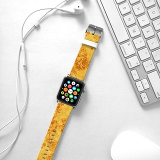Apple Watch Series 1 , Series 2, Series 3 - Golden Rose Floral pattern Watch Strap Band for Apple Watch / Apple Watch Sport - 38 mm / 42 mm avilable