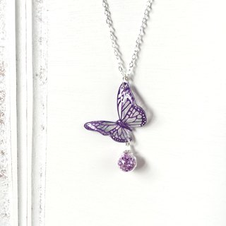 * Haku‧Neko * Purple Pattern Hand-painted Butterfly Purple Glass Ball Necklace